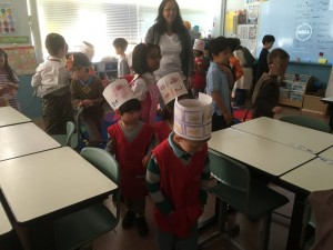 Visiting the ES classrooms with our crowns!